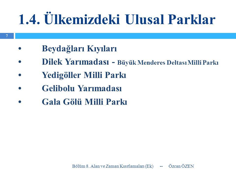 1.4. Ülkemizdeki Ulusal Parklar