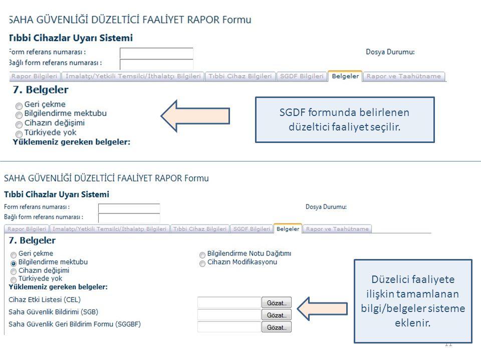 SGDF formunda belirlenen düzeltici faaliyet seçilir.