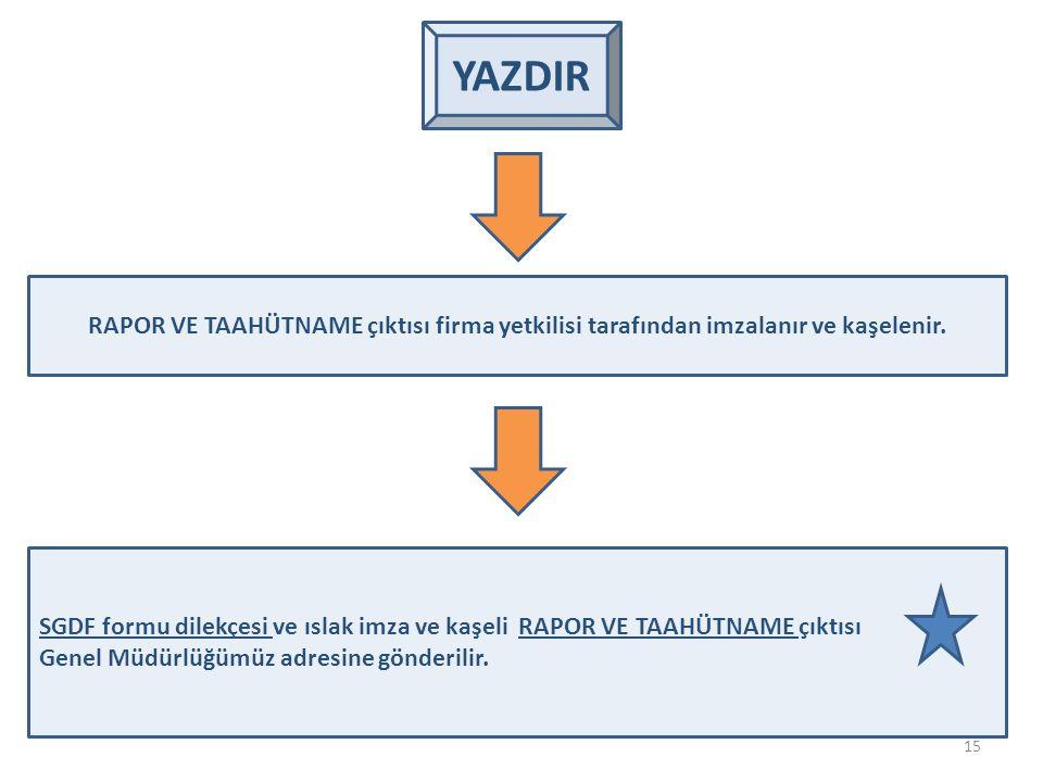YAZDIR RAPOR VE TAAHÜTNAME çıktısı firma yetkilisi tarafından imzalanır ve kaşelenir.