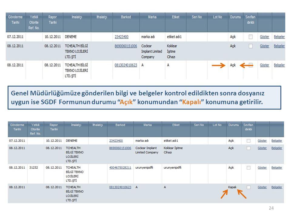 Genel Müdürlüğümüze gönderilen bilgi ve belgeler kontrol edildikten sonra dosyanız uygun ise SGDF Formunun durumu Açık konumundan Kapalı konumuna getirilir.