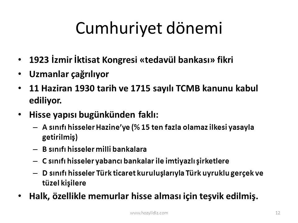 Cumhuriyet dönemi 1923 İzmir İktisat Kongresi «tedavül bankası» fikri