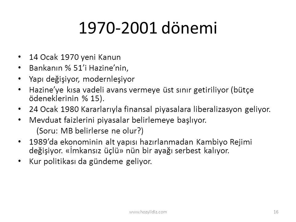 1970-2001 dönemi 14 Ocak 1970 yeni Kanun Bankanın % 51'i Hazine'nin,