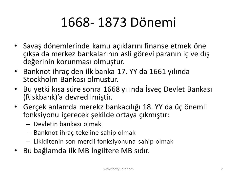 1668- 1873 Dönemi
