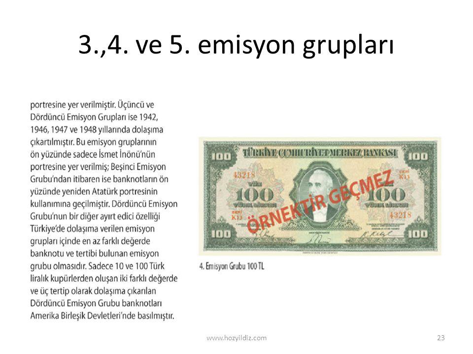 3.,4. ve 5. emisyon grupları www.hozyildiz.com