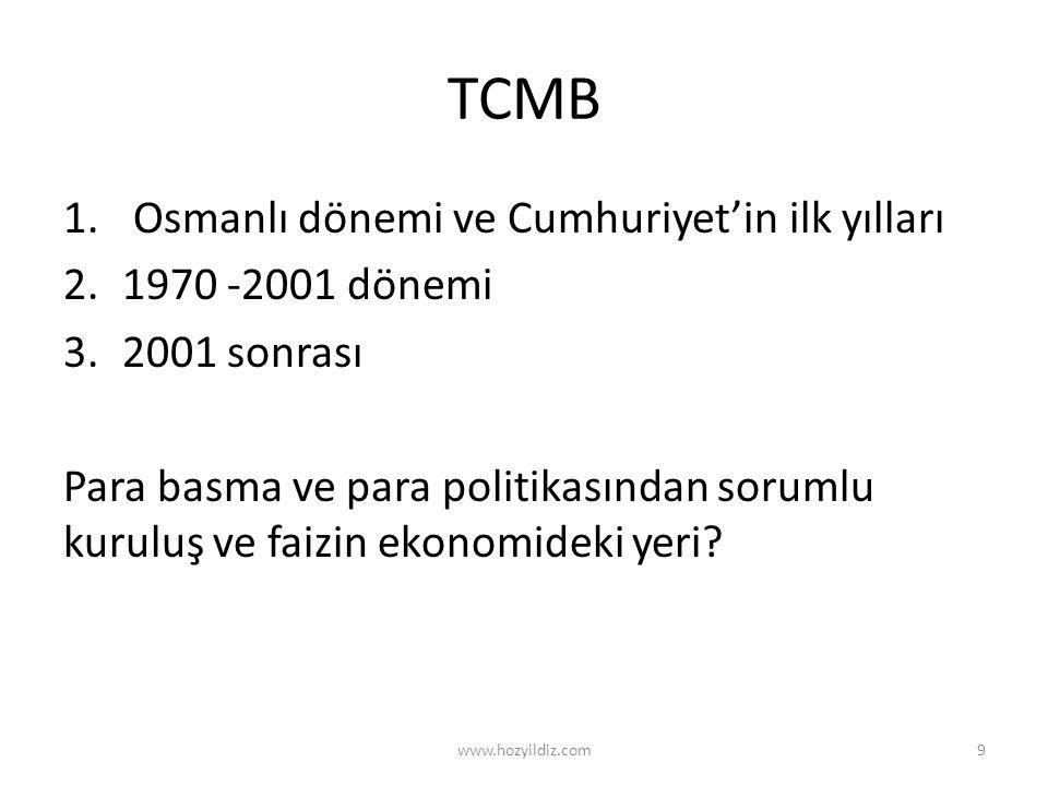 TCMB Osmanlı dönemi ve Cumhuriyet'in ilk yılları 1970 -2001 dönemi