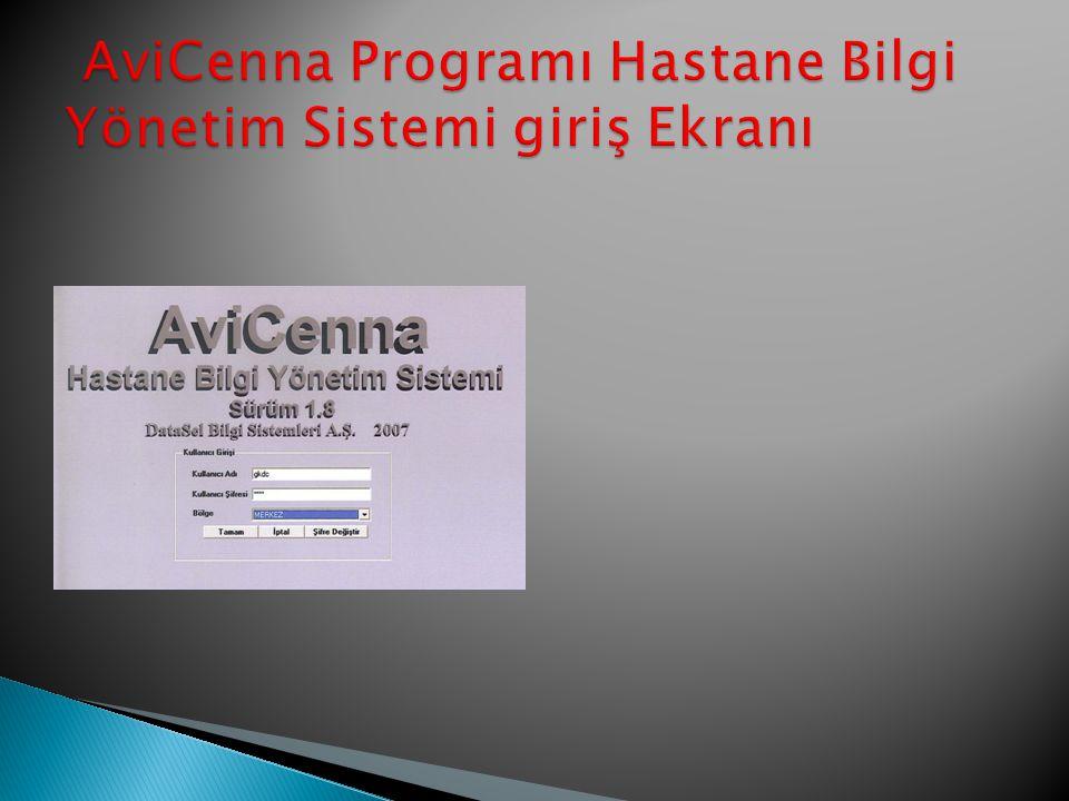 AviCenna Programı Hastane Bilgi Yönetim Sistemi giriş Ekranı