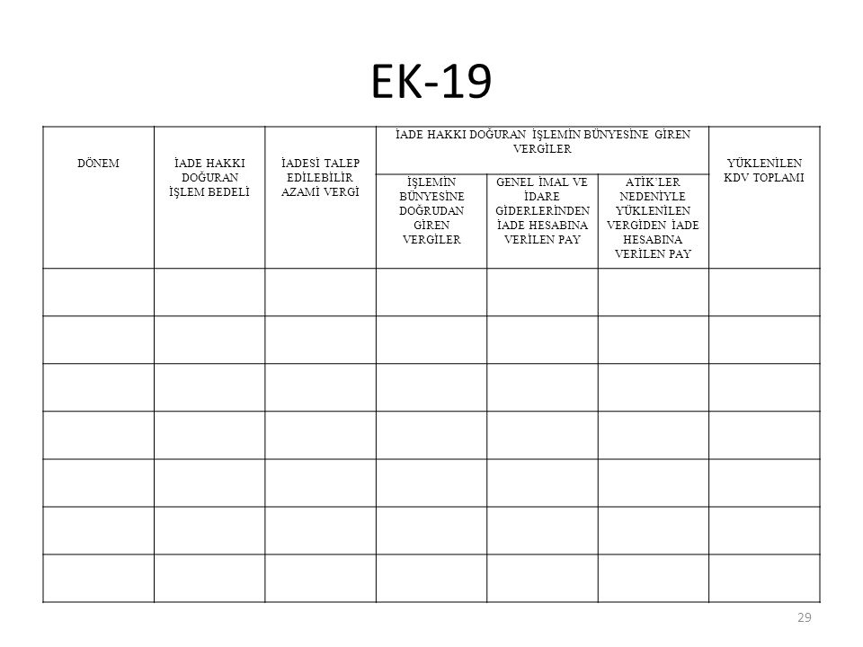 EK-19 DÖNEM İADE HAKKI DOĞURAN İŞLEM BEDELİ