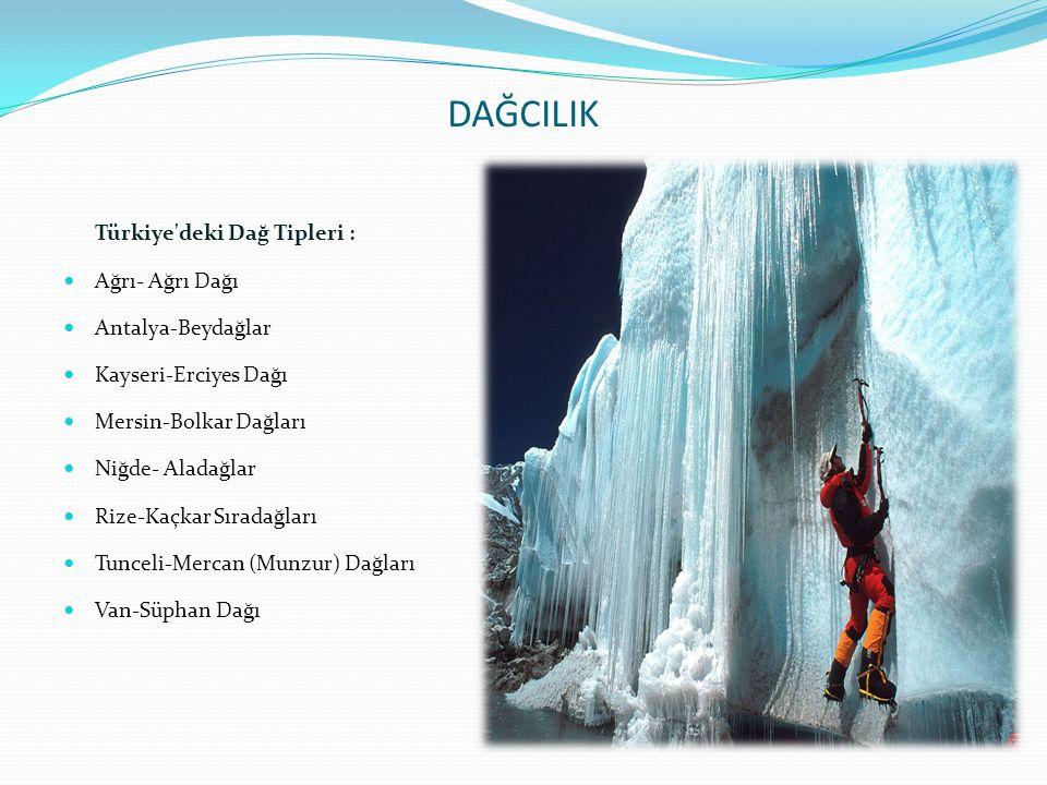 DAĞCILIK Türkiye deki Dağ Tipleri : Ağrı- Ağrı Dağı Antalya-Beydağlar