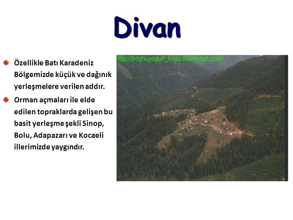 Divan Özellikle Batı Karadeniz Bölgemizde küçük ve dağınık yerleşmelere verilen addır.