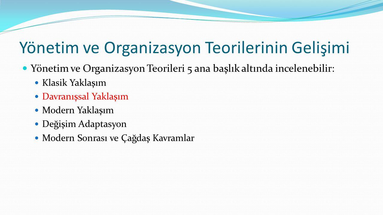 Yönetim ve Organizasyon Teorilerinin Gelişimi