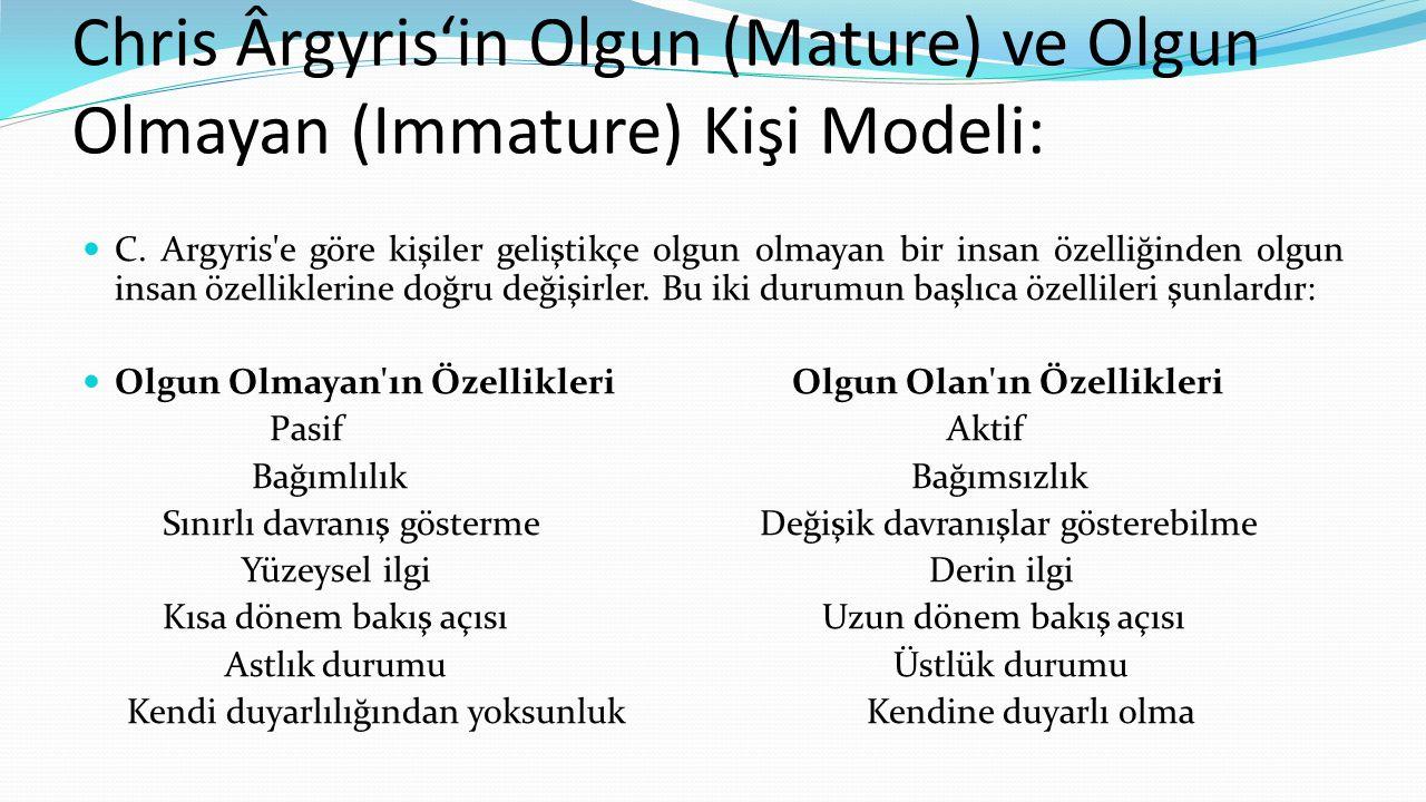 Chris Ârgyris'in Olgun (Mature) ve Olgun Olmayan (Immature) Kişi Modeli: