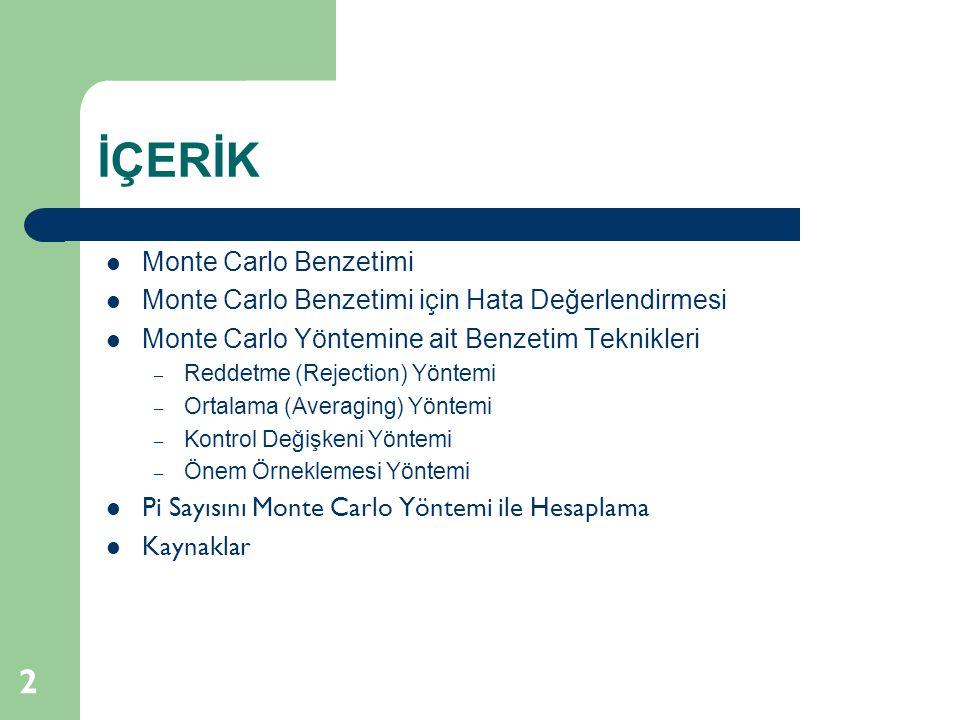 İÇERİK Monte Carlo Benzetimi