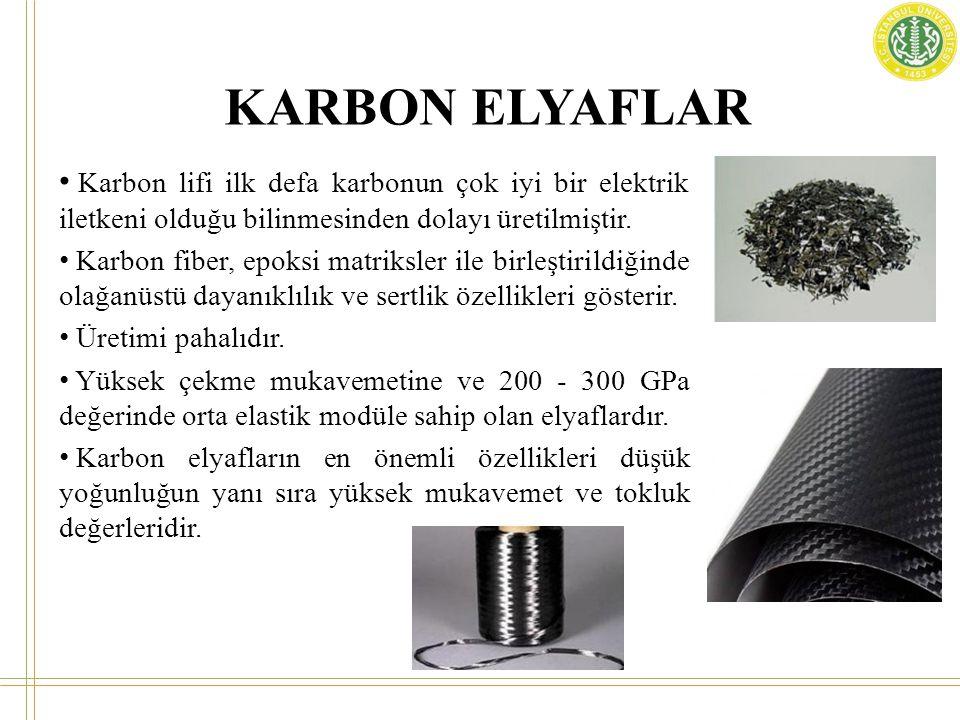 KARBON ELYAFLAR Karbon lifi ilk defa karbonun çok iyi bir elektrik iletkeni olduğu bilinmesinden dolayı üretilmiştir.