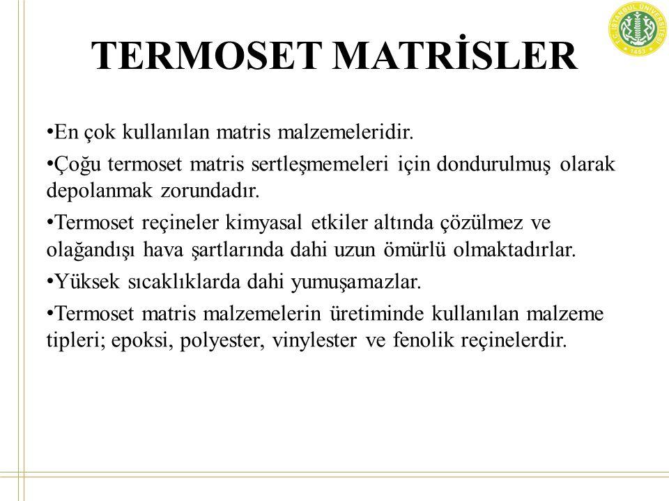 TERMOSET MATRİSLER En çok kullanılan matris malzemeleridir.