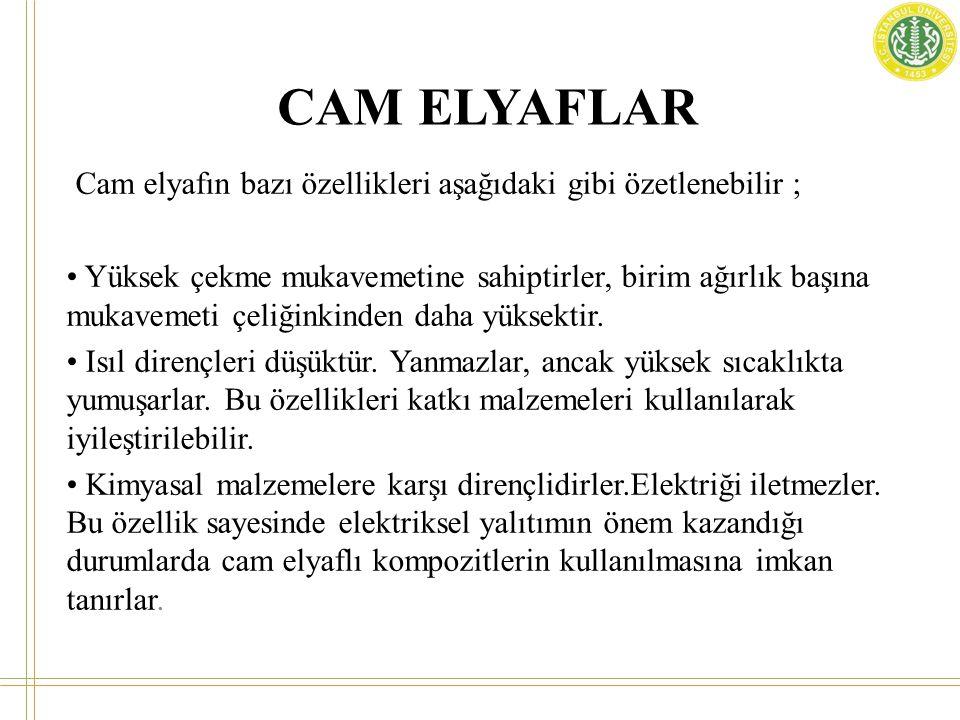 CAM ELYAFLAR Cam elyafın bazı özellikleri aşağıdaki gibi özetlenebilir ;