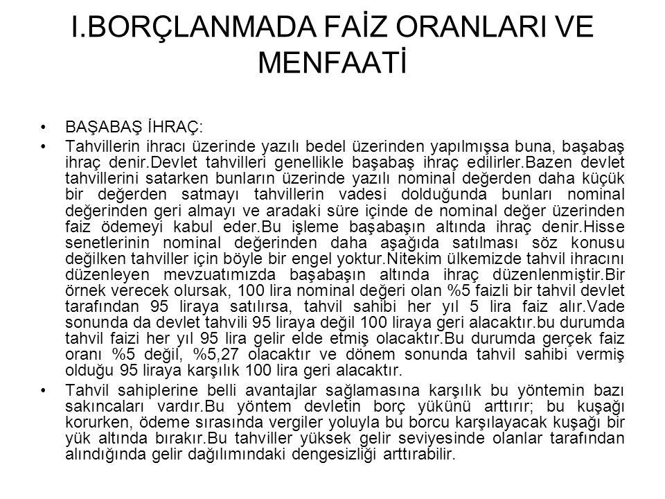 I.BORÇLANMADA FAİZ ORANLARI VE MENFAATİ