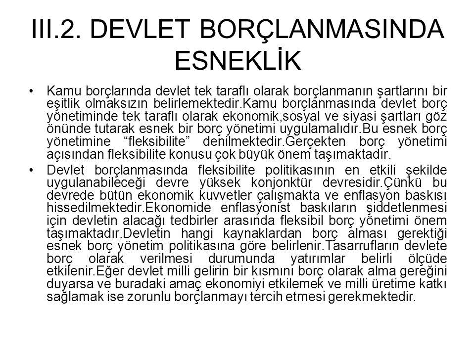 III.2. DEVLET BORÇLANMASINDA ESNEKLİK