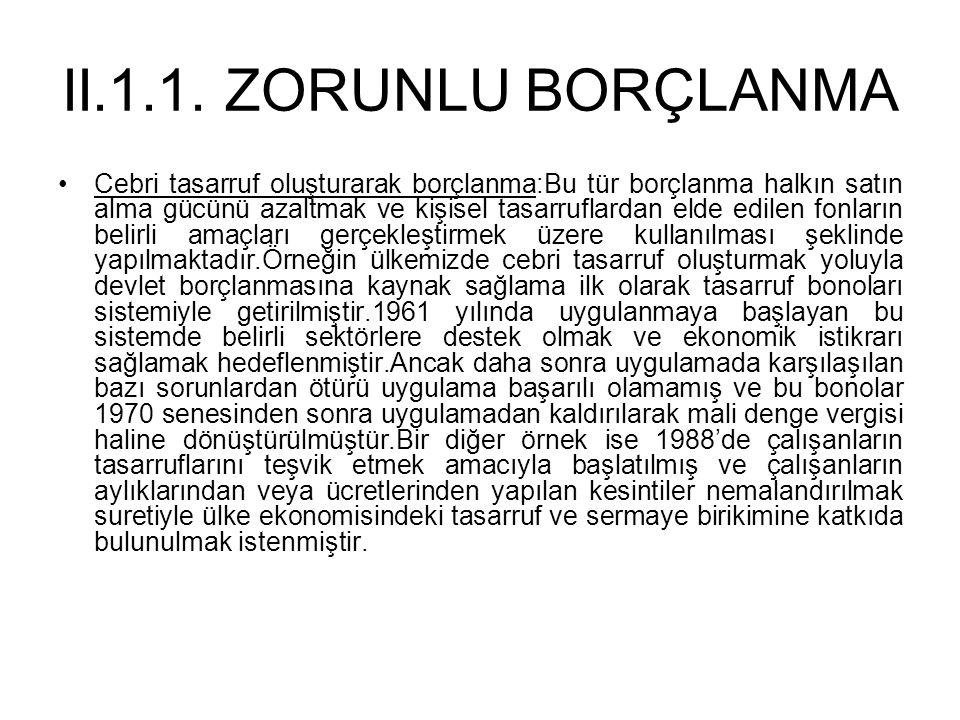 II.1.1. ZORUNLU BORÇLANMA