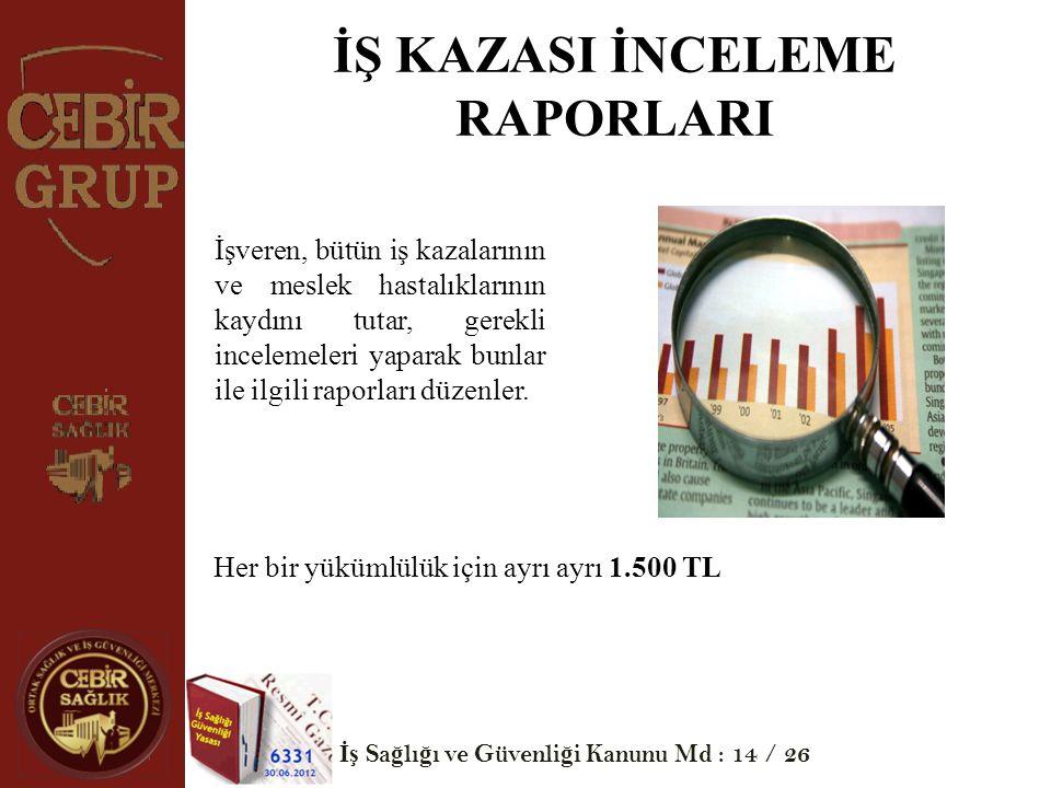 İŞ KAZASI İNCELEME RAPORLARI