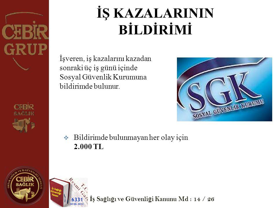 İŞ KAZALARININ BİLDİRİMİ