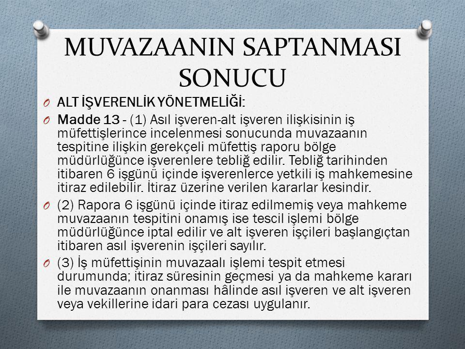 MUVAZAANIN SAPTANMASI SONUCU
