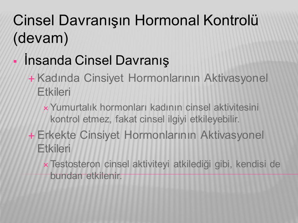 Cinsel Davranışın Hormonal Kontrolü (devam)