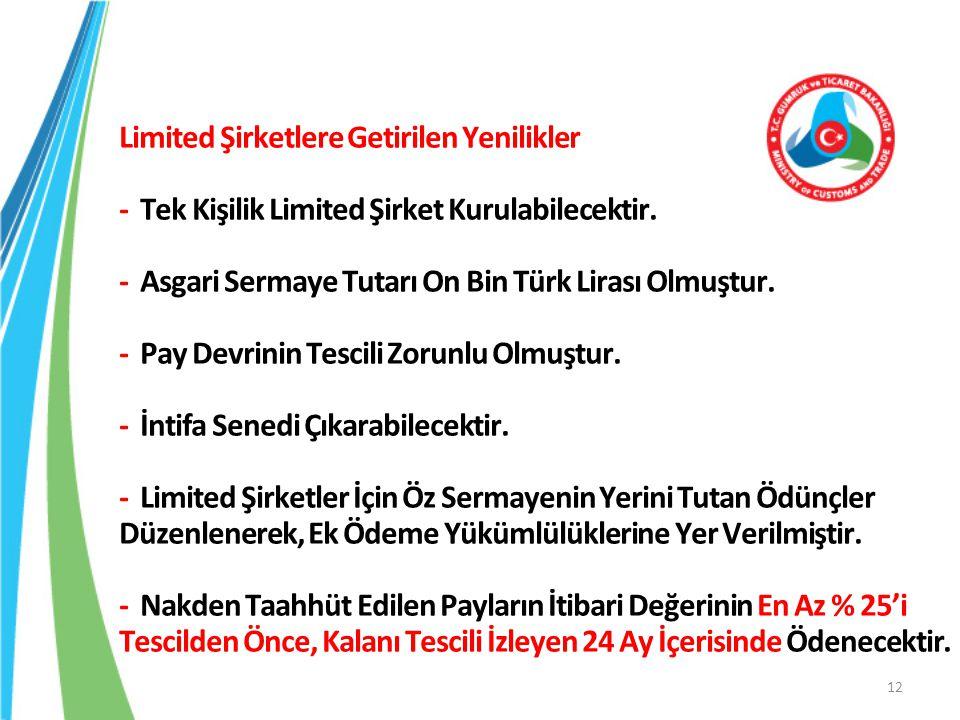 Limited Şirketlere Getirilen Yenilikler - Tek Kişilik Limited Şirket Kurulabilecektir.