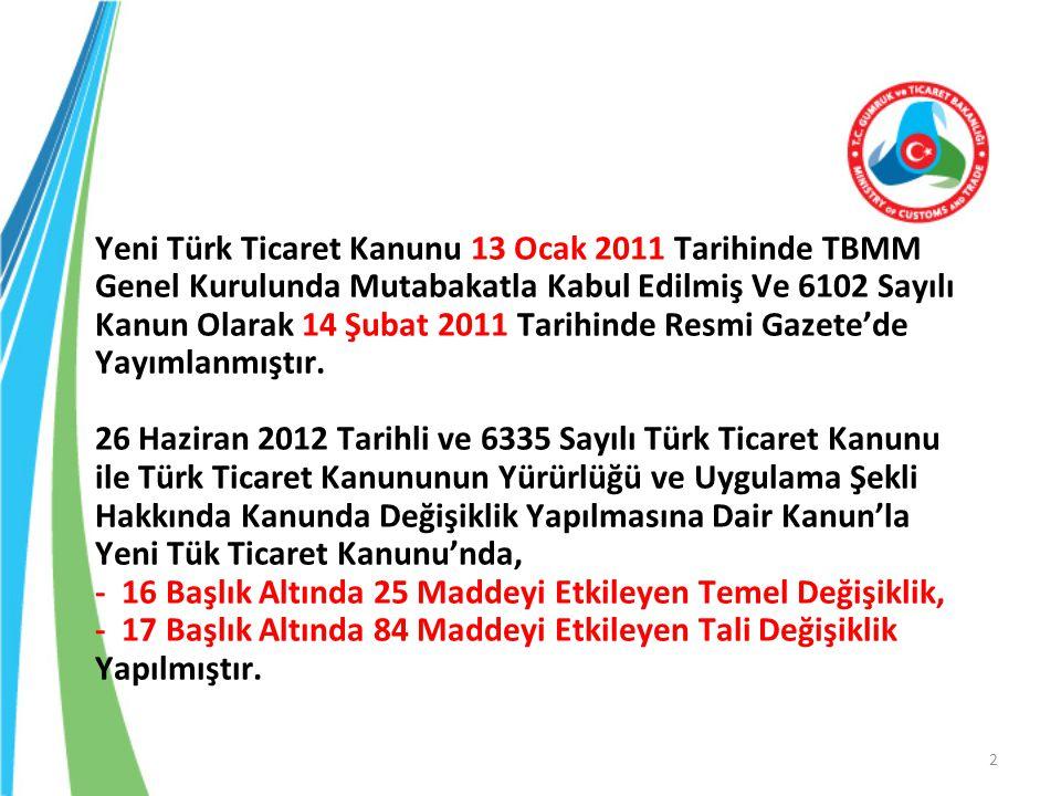 Yeni Türk Ticaret Kanunu 13 Ocak 2011 Tarihinde TBMM Genel Kurulunda Mutabakatla Kabul Edilmiş Ve 6102 Sayılı Kanun Olarak 14 Şubat 2011 Tarihinde Resmi Gazete'de Yayımlanmıştır.