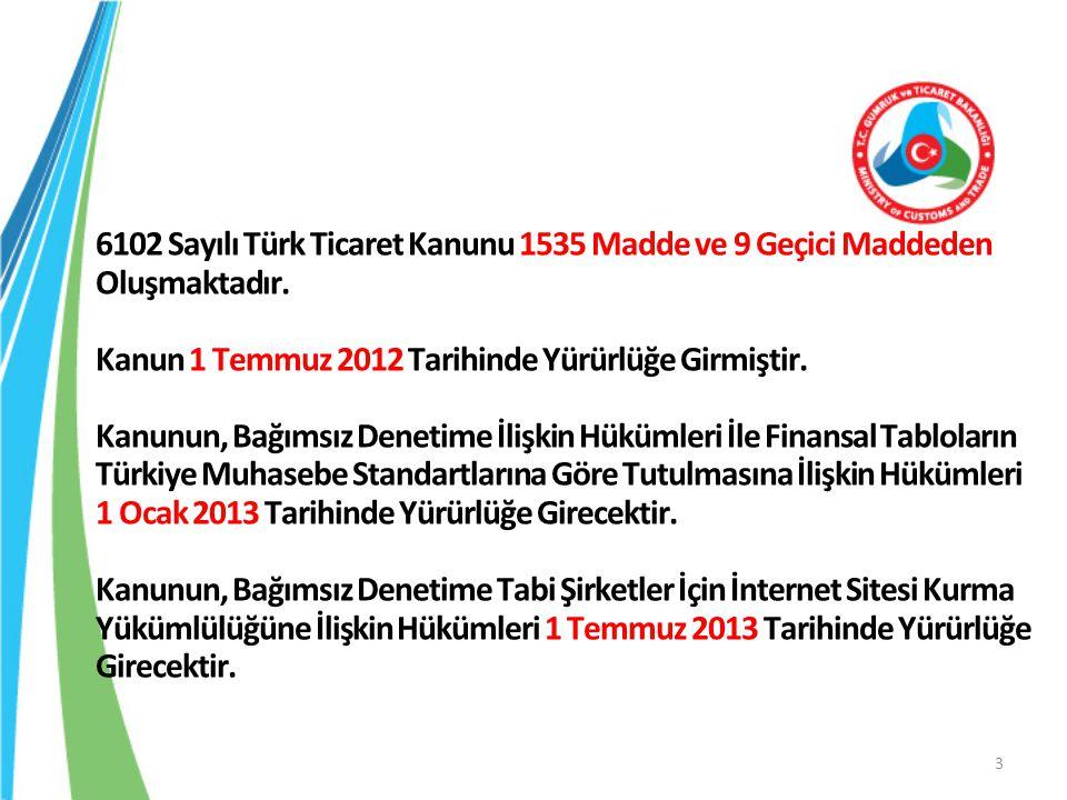 6102 Sayılı Türk Ticaret Kanunu 1535 Madde ve 9 Geçici Maddeden Oluşmaktadır.