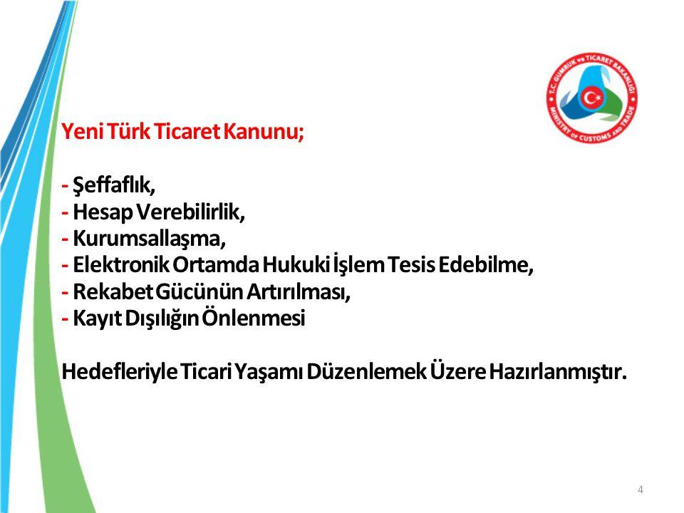 Yeni Türk Ticaret Kanunu; - Şeffaflık, - Hesap Verebilirlik, - Kurumsallaşma, - Elektronik Ortamda Hukuki İşlem Tesis Edebilme, - Rekabet Gücünün Artırılması, - Kayıt Dışılığın Önlenmesi Hedefleriyle Ticari Yaşamı Düzenlemek Üzere Hazırlanmıştır.