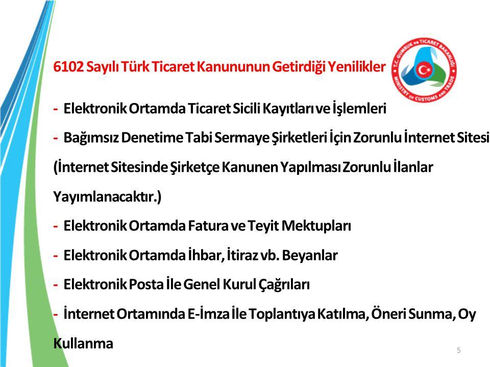 6102 Sayılı Türk Ticaret Kanununun Getirdiği Yenilikler - Elektronik Ortamda Ticaret Sicili Kayıtları ve İşlemleri - Bağımsız Denetime Tabi Sermaye Şirketleri İçin Zorunlu İnternet Sitesi (İnternet Sitesinde Şirketçe Kanunen Yapılması Zorunlu İlanlar Yayımlanacaktır.) - Elektronik Ortamda Fatura ve Teyit Mektupları - Elektronik Ortamda İhbar, İtiraz vb.