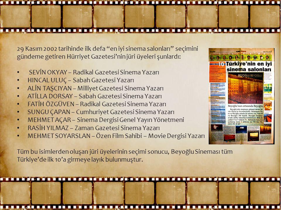 29 Kasım 2002 tarihinde ilk defa en iyi sinema salonları seçimini