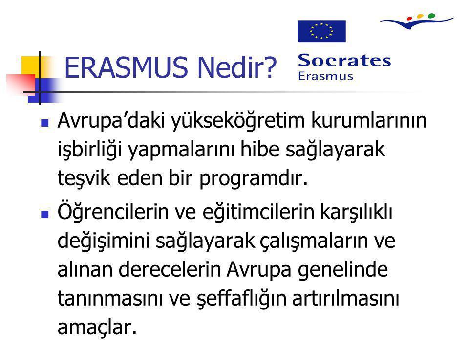 ERASMUS Nedir Avrupa'daki yükseköğretim kurumlarının işbirliği yapmalarını hibe sağlayarak teşvik eden bir programdır.