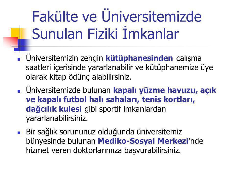 Fakülte ve Üniversitemizde Sunulan Fiziki İmkanlar