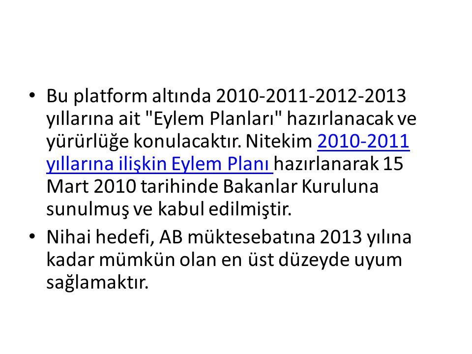 Bu platform altında 2010-2011-2012-2013 yıllarına ait Eylem Planları hazırlanacak ve yürürlüğe konulacaktır. Nitekim 2010-2011 yıllarına ilişkin Eylem Planı hazırlanarak 15 Mart 2010 tarihinde Bakanlar Kuruluna sunulmuş ve kabul edilmiştir.