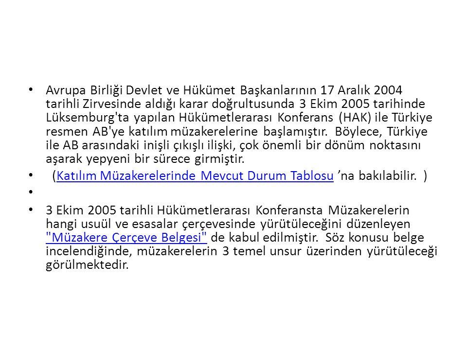 Avrupa Birliği Devlet ve Hükümet Başkanlarının 17 Aralık 2004 tarihli Zirvesinde aldığı karar doğrultusunda 3 Ekim 2005 tarihinde Lüksemburg ta yapılan Hükümetlerarası Konferans (HAK) ile Türkiye resmen AB ye katılım müzakerelerine başlamıştır. Böylece, Türkiye ile AB arasındaki inişli çıkışlı ilişki, çok önemli bir dönüm noktasını aşarak yepyeni bir sürece girmiştir.