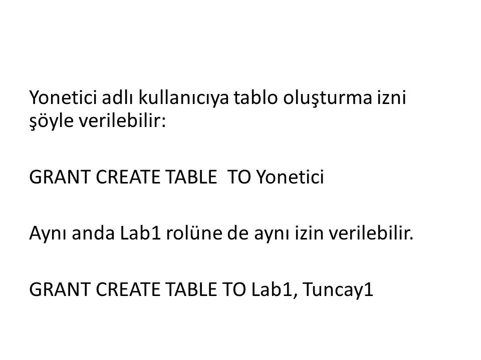 Yonetici adlı kullanıcıya tablo oluşturma izni şöyle verilebilir: GRANT CREATE TABLE TO Yonetici Aynı anda Lab1 rolüne de aynı izin verilebilir.