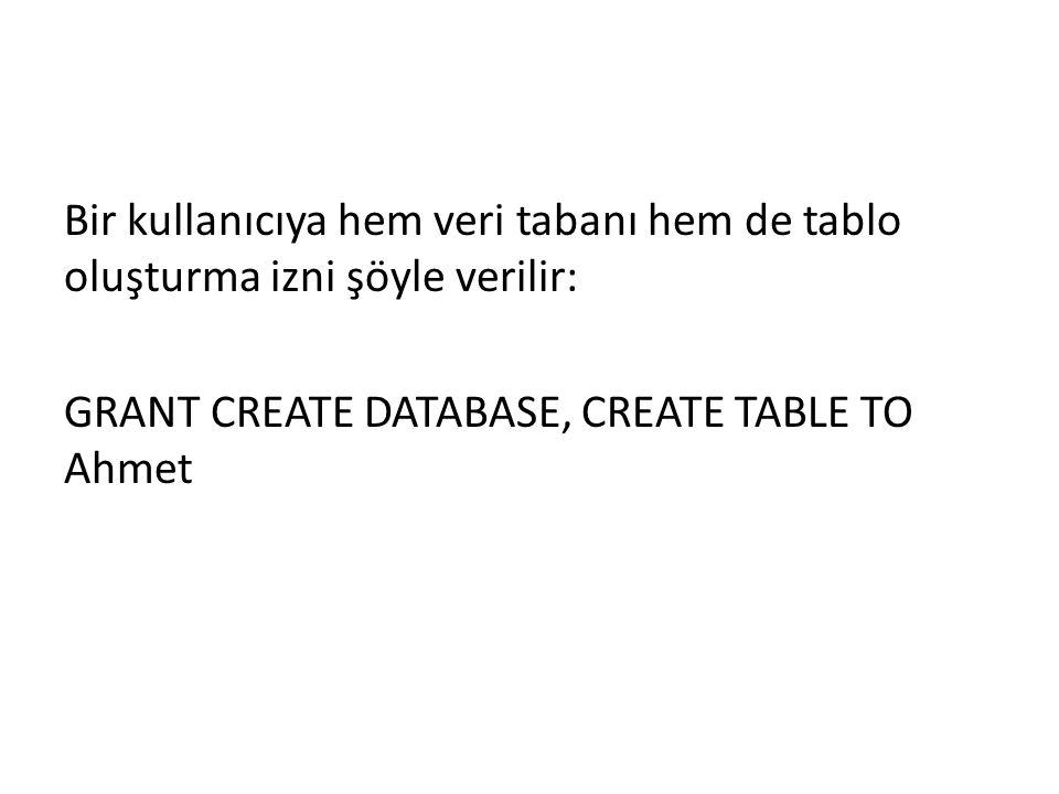 Bir kullanıcıya hem veri tabanı hem de tablo oluşturma izni şöyle verilir: GRANT CREATE DATABASE, CREATE TABLE TO Ahmet