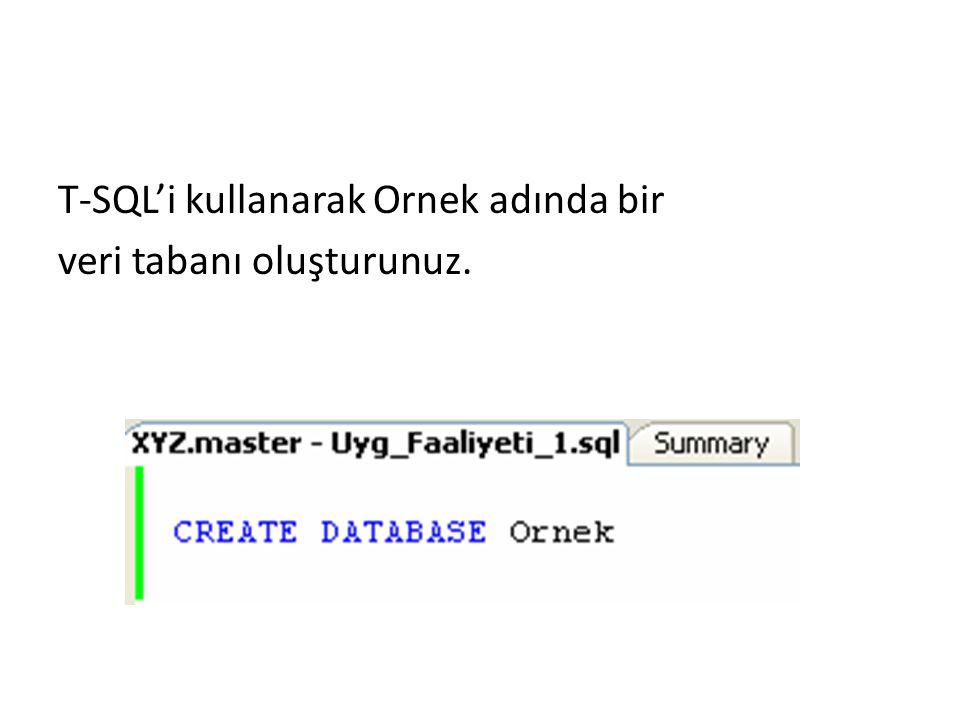 T-SQL'i kullanarak Ornek adında bir