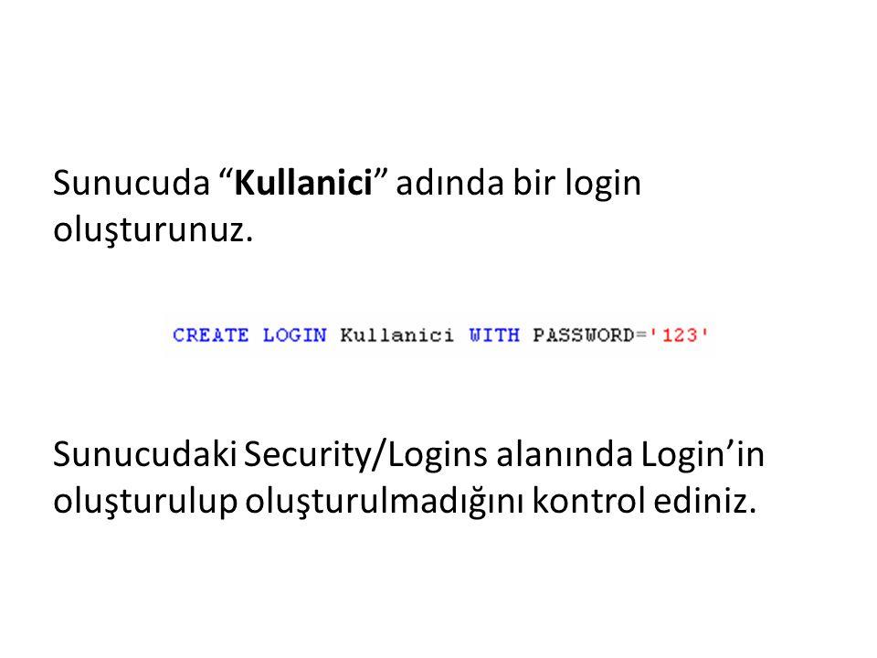 Sunucuda Kullanici adında bir login oluşturunuz.
