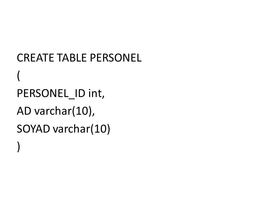 CREATE TABLE PERSONEL ( PERSONEL_ID int, AD varchar(10), SOYAD varchar(10) )