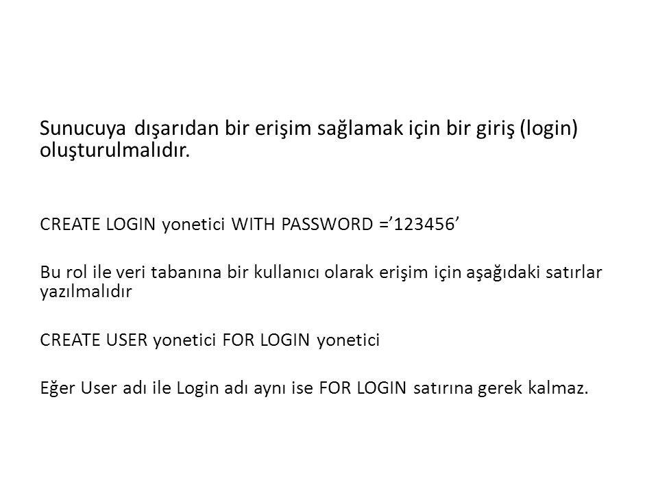 Sunucuya dışarıdan bir erişim sağlamak için bir giriş (login) oluşturulmalıdır.