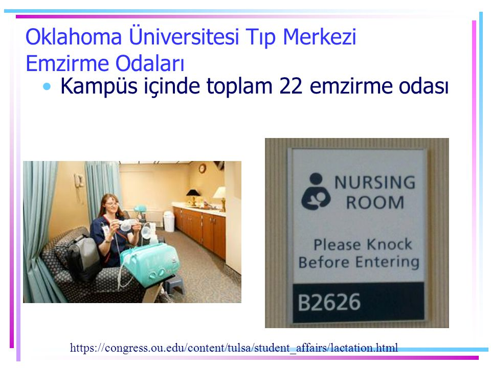 Oklahoma Üniversitesi Tıp Merkezi Emzirme Odaları