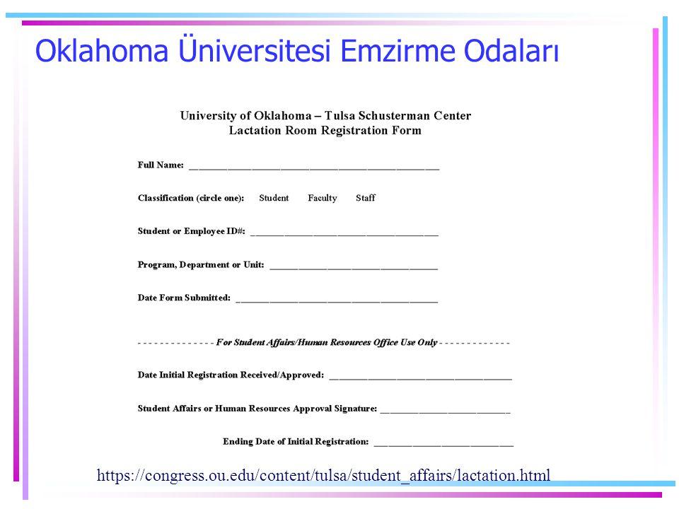 Oklahoma Üniversitesi Emzirme Odaları