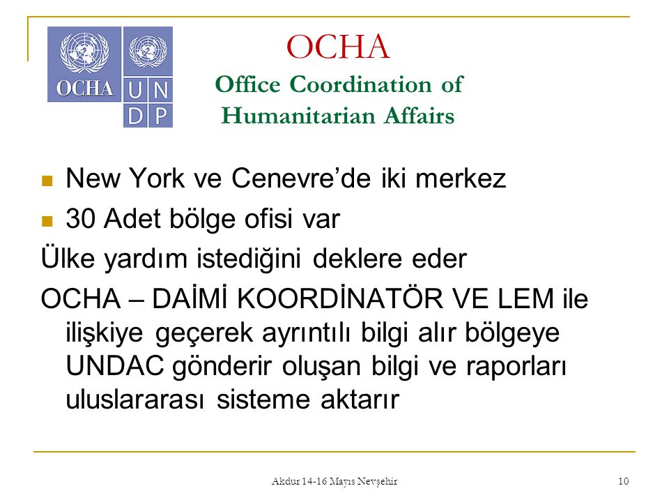 OCHA Office Coordination of Humanitarian Affairs