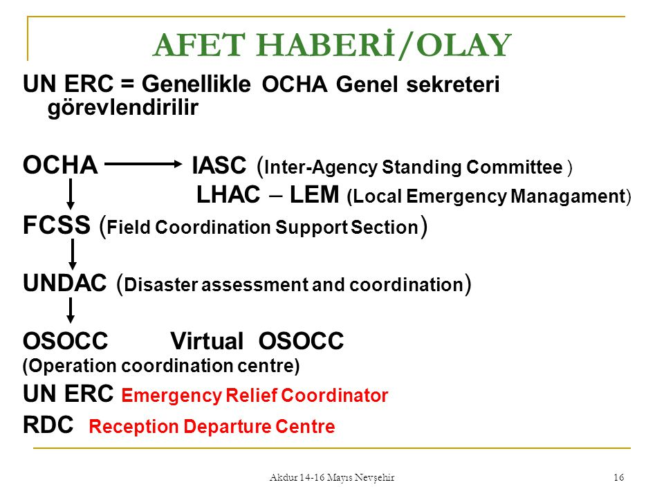 AFET HABERİ/OLAY OCHA IASC (Inter-Agency Standing Committee )
