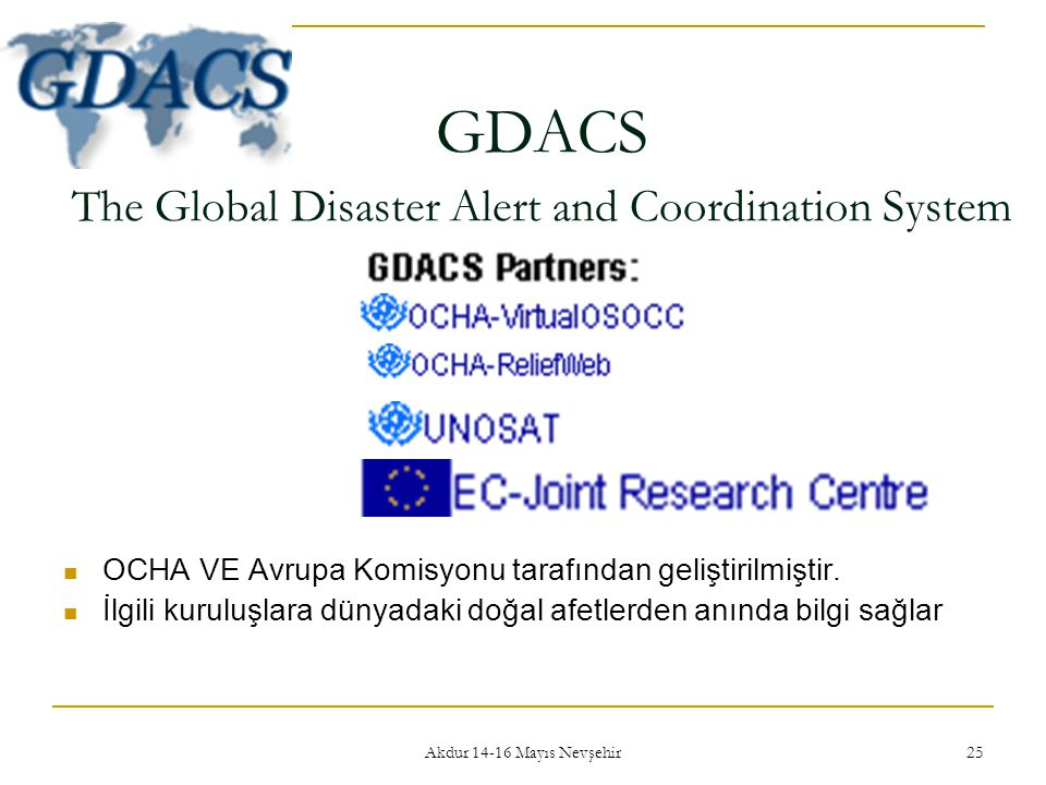GDACS The Global Disaster Alert and Coordination System