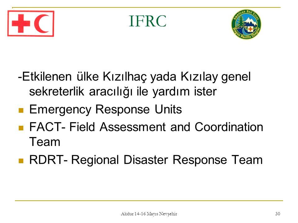 IFRC -Etkilenen ülke Kızılhaç yada Kızılay genel sekreterlik aracılığı ile yardım ister. Emergency Response Units.
