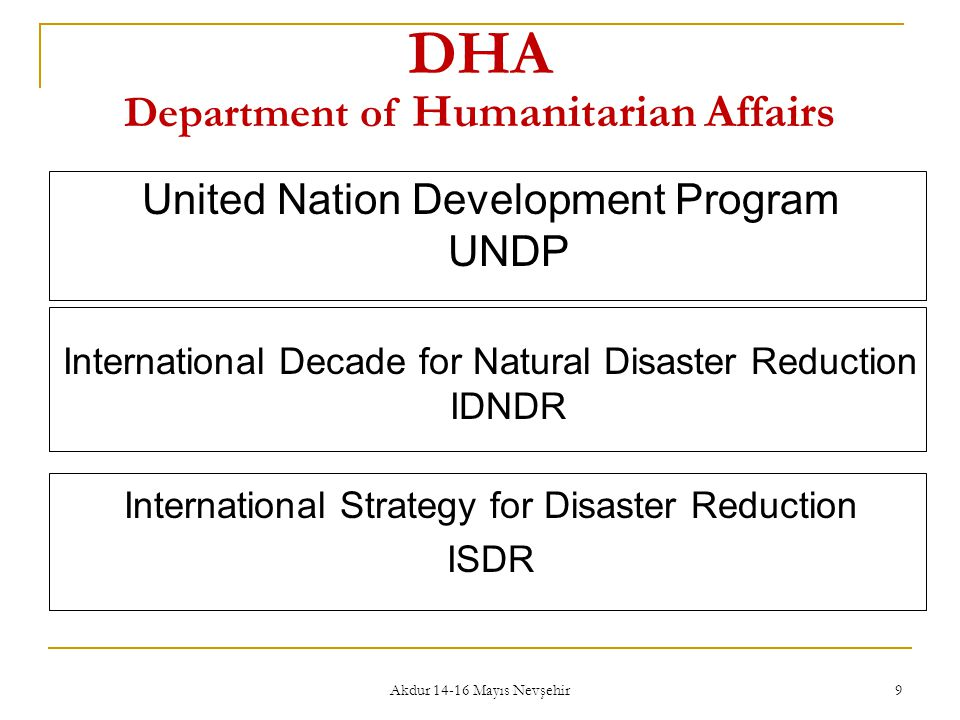 DHA Department of Humanitarian Affairs