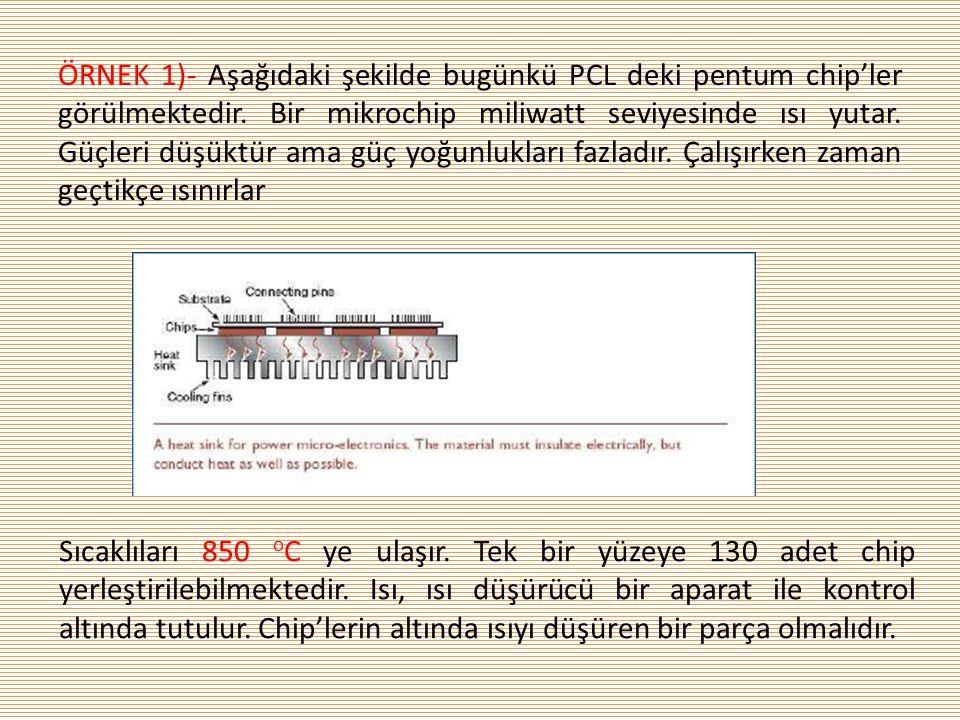 ÖRNEK 1)- Aşağıdaki şekilde bugünkü PCL deki pentum chip'ler görülmektedir. Bir mikrochip miliwatt seviyesinde ısı yutar. Güçleri düşüktür ama güç yoğunlukları fazladır. Çalışırken zaman geçtikçe ısınırlar
